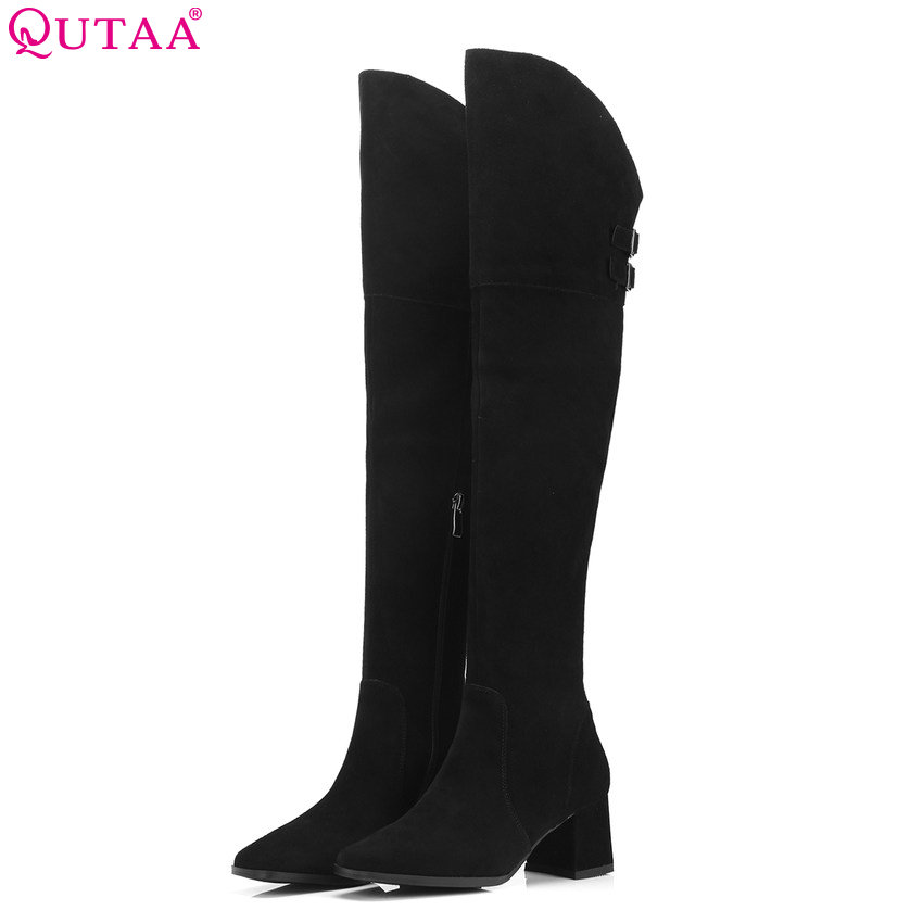 QUTAA 2019 Cow Suede Women Boots Platform All Match Women Over The Knee High Boots Square High Heel Winter Boots Big Size 34-39 qutaa 2019 winter boots women ankle boots all match platform zipper square high heel cow leather pu women boots big size 34 39