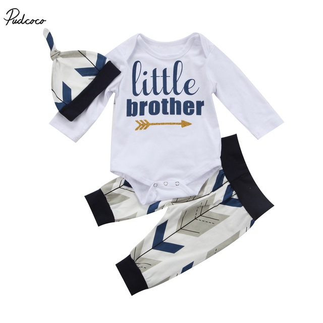 77de66371 Cute Newborn Baby Boys 2017 New Infant Little Brother Long Sleeve ...