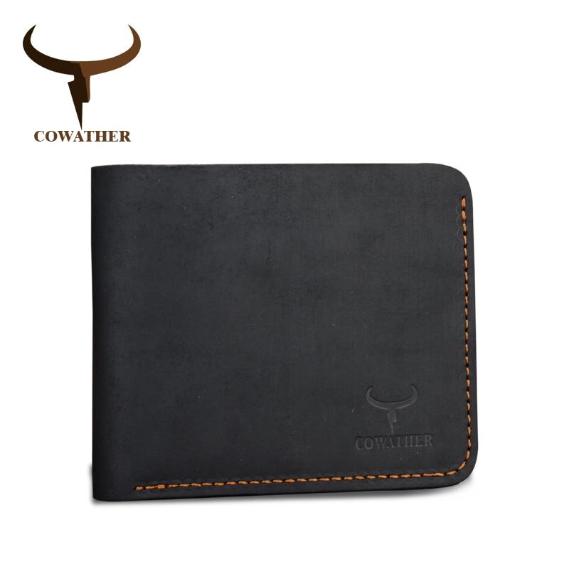Cowather crazy horse кожа мужчины кошельки vintage подлинная кошелек кожаный для мужчин ковбой верхняя кожа тонкий поставить