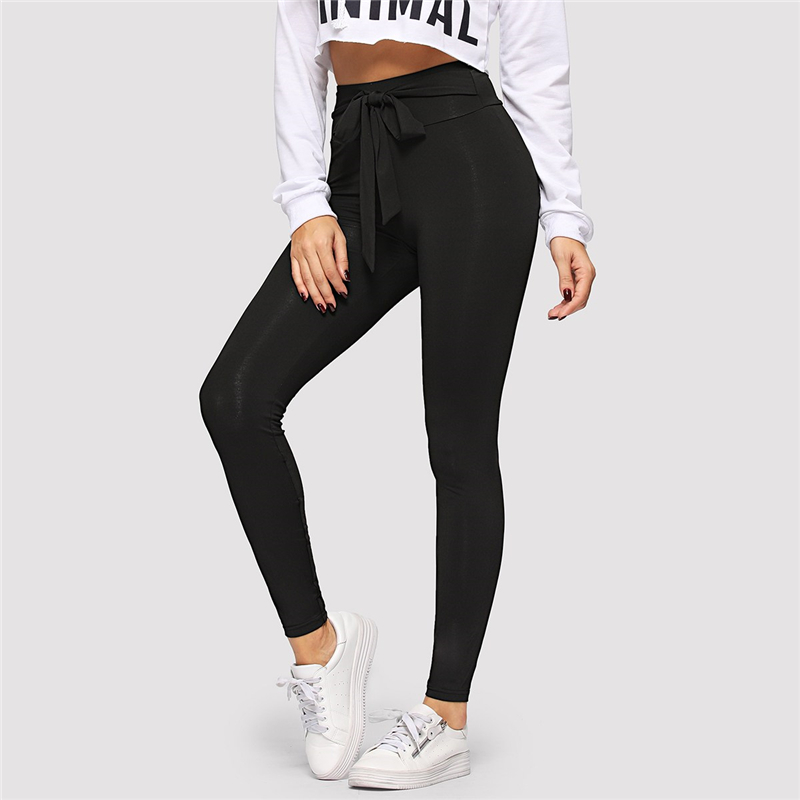 SHEIN Black Tie Waist Drawstring Solid Skinny Leggings Women 2019 Spring Active Wear Leisure Casual Workout Leggings 5
