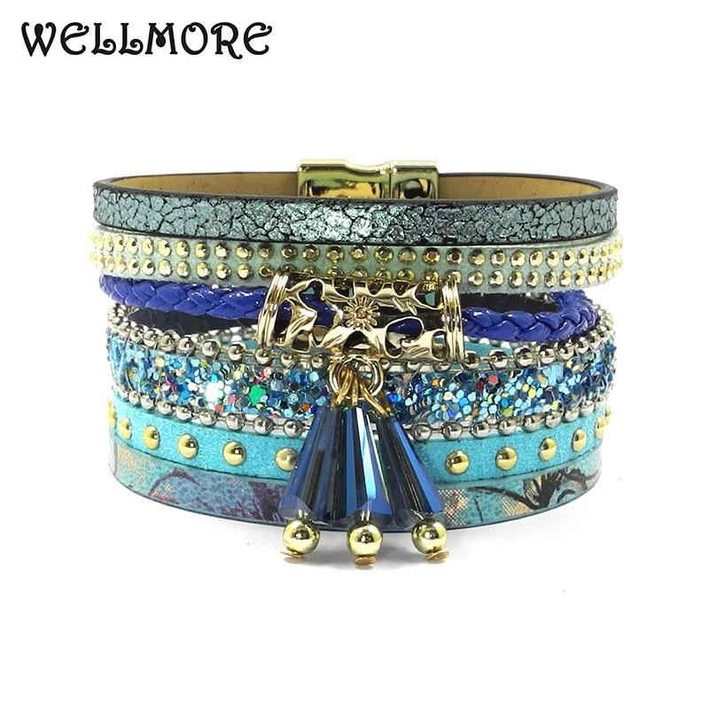 wellmore sommar läderarmband charm armband & armband magnet spänne armband Böhmen armband för kvinnor manchette B1561