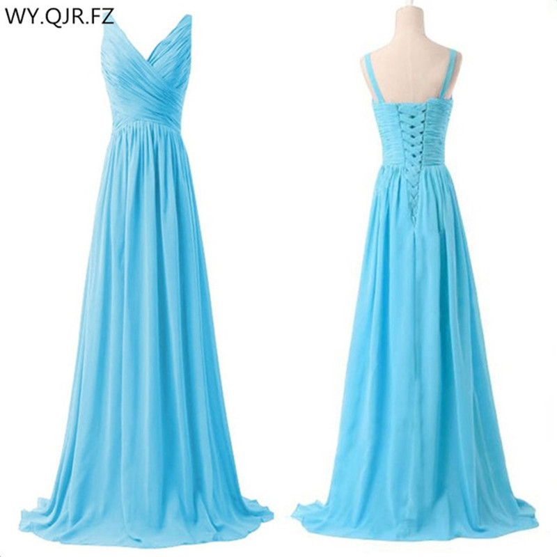 LLY1130T V neck Spaghetti Straps Long Lace up sky Blue Bridesmaid Dresses wedding party prom dress