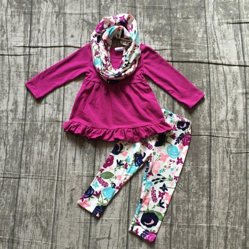 new arrivals baby girls FALL/Winter 3pieces scarf purple floral pant outfits sets cotton print boutique children clothes kids все цены