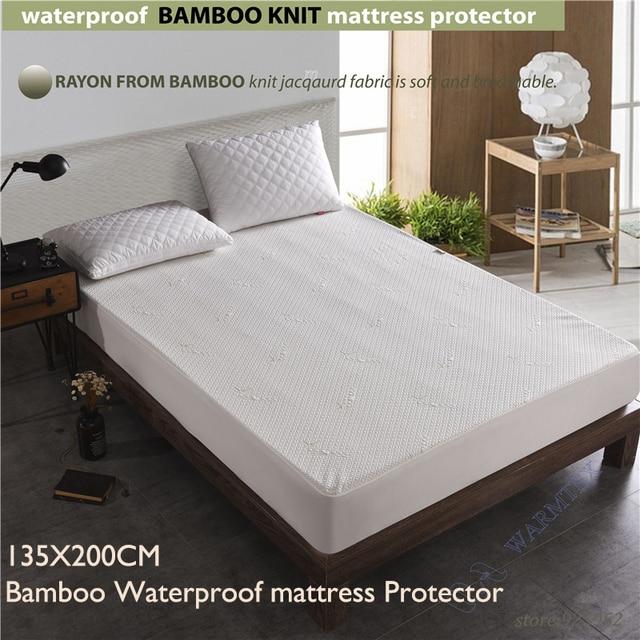 Tamaño completo 135x200 cm cama doble impermeable de bambú tejido ...