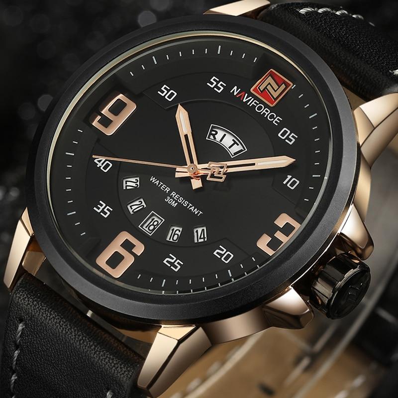 NAVIFORCE Marca de lujo Fecha Japón Movt Square Hombres Cuarzo Reloj - Relojes para hombres