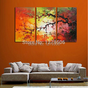 Hand Painted Abstract Oil Paintings On Canvas Hang Picture Plum Blossom For Living Room Wall Decor Paintings