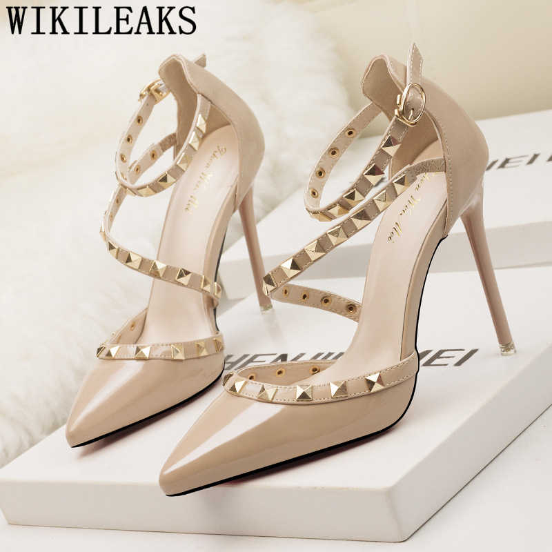 Sandali degli alti talloni delle donne rivetto scarpe da sposa sposa mary jane scarpe per le donne stiletto tacones altos mujer sexy fetish high tacchi