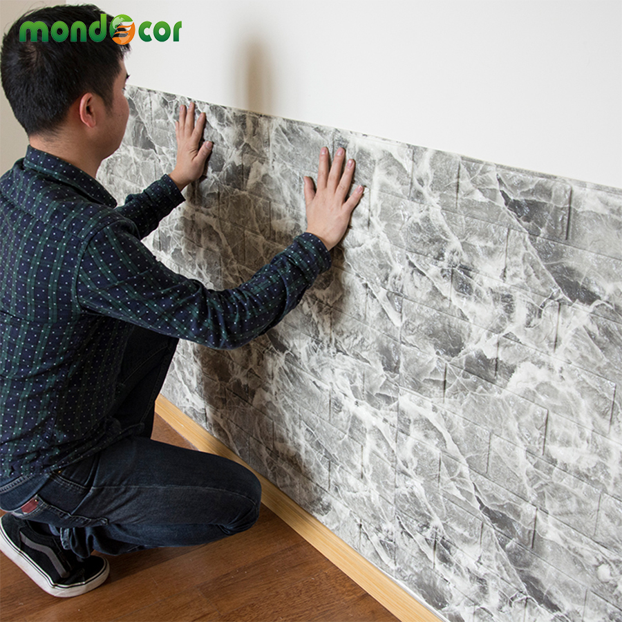 Waterproof wall wallpaper wholesale for Room decor 3d foam stickers
