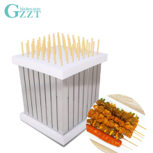 GZZT BBQ Kebab Maker Skewers Barbecue Meat Beef 64 Holes Box Tool Brochettes Easily Cleaned White Stainless Steel