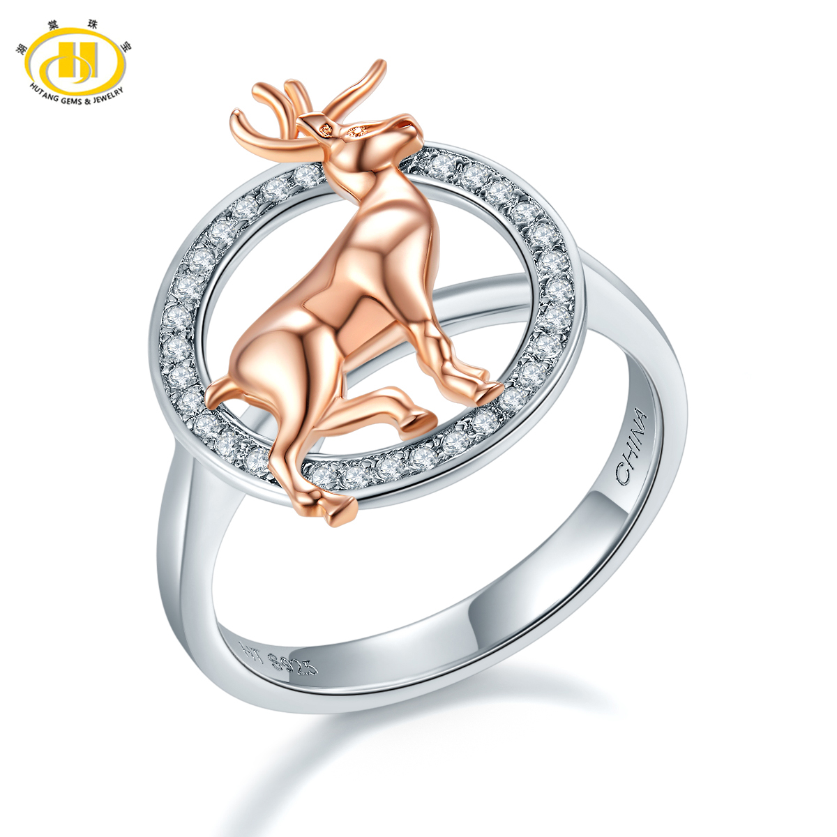 все цены на Hutang Christmas Gift Lovely Two-tone Deer Ring Solid 925 Sterling Silver Rose Gold Plated Natural Zircon Fine Jewelry for Women