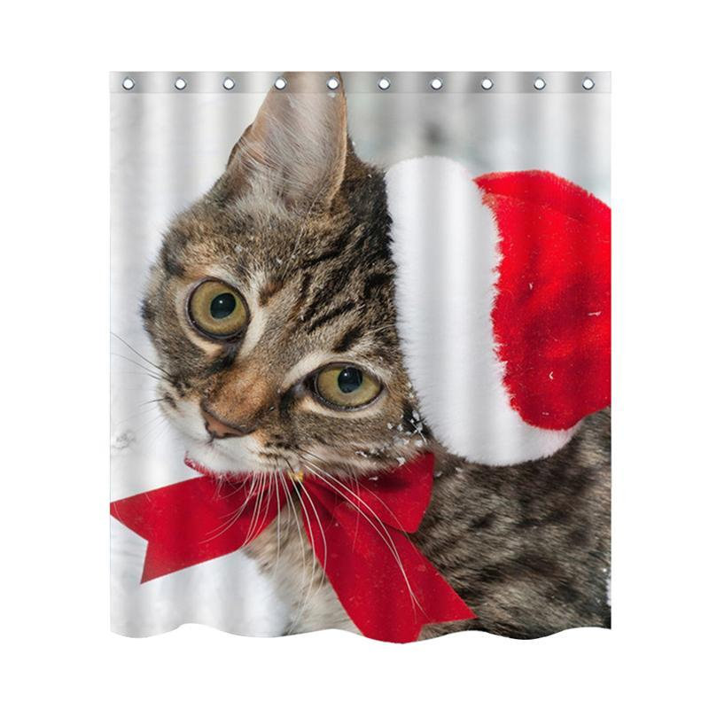 LUOEM Shower Curtain Christmas Funny Cat Home Decor Mildew Proof Waterproof Cloth Room Curtains In From