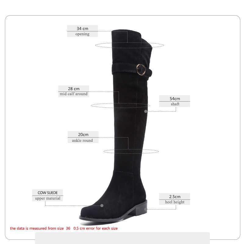 ISNOM Inek Süet Düşük Kalın Topuklu Kadın Çizmeler Yuvarlak Ayak Ayakkabı Zip Perçin Kadın Çizme Diz Ayakkabı Kadın 2018 Kış Siyah