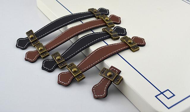 96mm 128mm brown/black leather punho da mobília/estilo moderno alça de couro/tração da porta/punho HM52