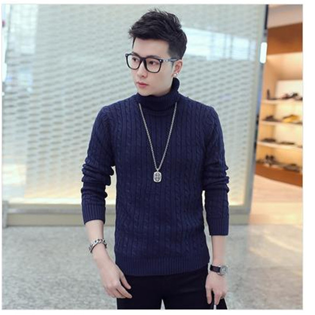 Hot Sale 2016 Winter new Korean hedging thick turtleneck sweater Slim sweater men comfortable clothes