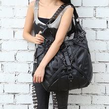 Steel steam punk Vintage Gothic Steampunk Exclusive Retro Rock Leather Shoulder Bag Handbag New Halloween Retro Rock Fashion