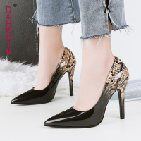 D&Henlu Leopard High Heel Shoes Women Pumps Women Shoes The Thin High Heel Stiletto Shoe Black And White Glossy Bright escarpins