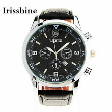 Irisshine B08 марка роскошные Мужчины часы montre homme Кварцевые Деловых мужская Военная Авто Дата Кожа Часы Оптом