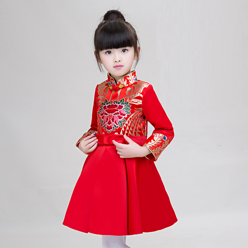 New Red Chinese Style Costume Traditional Dress Kids Girl Dress Cheongsam Qipao Dress Girl Party Birthday Performance Clothes 2017 autumn chinese style girl dress cotton short sleeve chinese cheongsam for kids baby girls qipao girls clothes