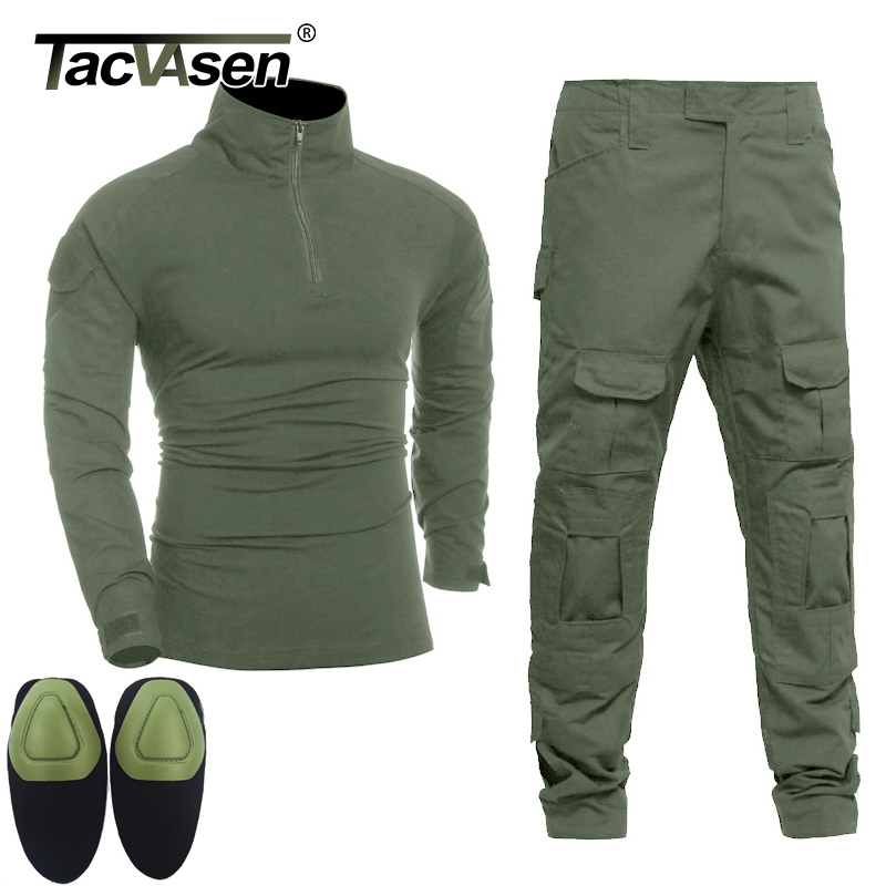 TACVASEN Men Tactical Uniforms Military Clothing Army Green Combat Suit Sets Special Airsoft T shirts Paintball