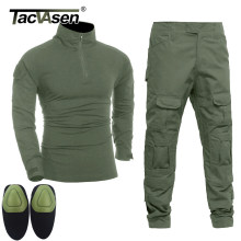 TACVASEN Men Tactical Uniforms Military Clothing Army Green Combat Suit Sets Special Airsoft T-shirts Paintball Pants With Pads(China)