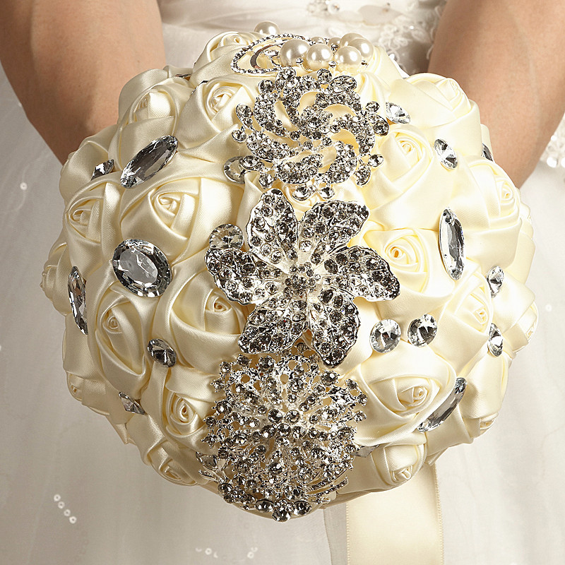 Artifical Wedding Flowers Bridal Bouquets Gorgeous Crystal Wedding Bouquet Red Brooch Bouquet Wedding Accessories Bridesmaid