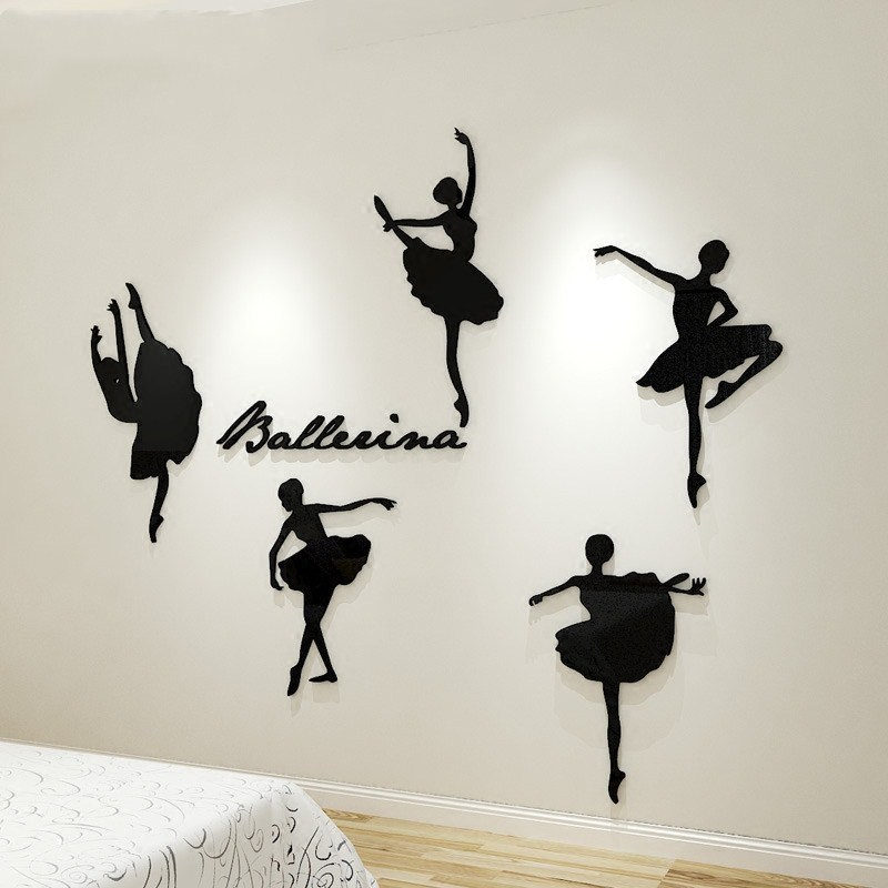 Creative INS Ballet notes DIY Children 39 s room bedroom home living room TV background wall decoration 3D acrylic wall sticker in Wall Stickers from Home amp Garden