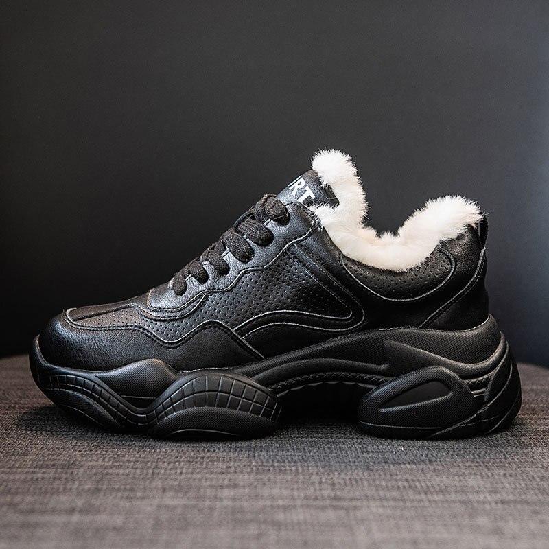 Image 5 - SWYIVY Chunky White Sneakers Women Casual Shoes Women Sneakers 2019 Warm Winter Fashion Leather Platform Snow Ladies Shoe PlushWomens Vulcanize Shoes   -