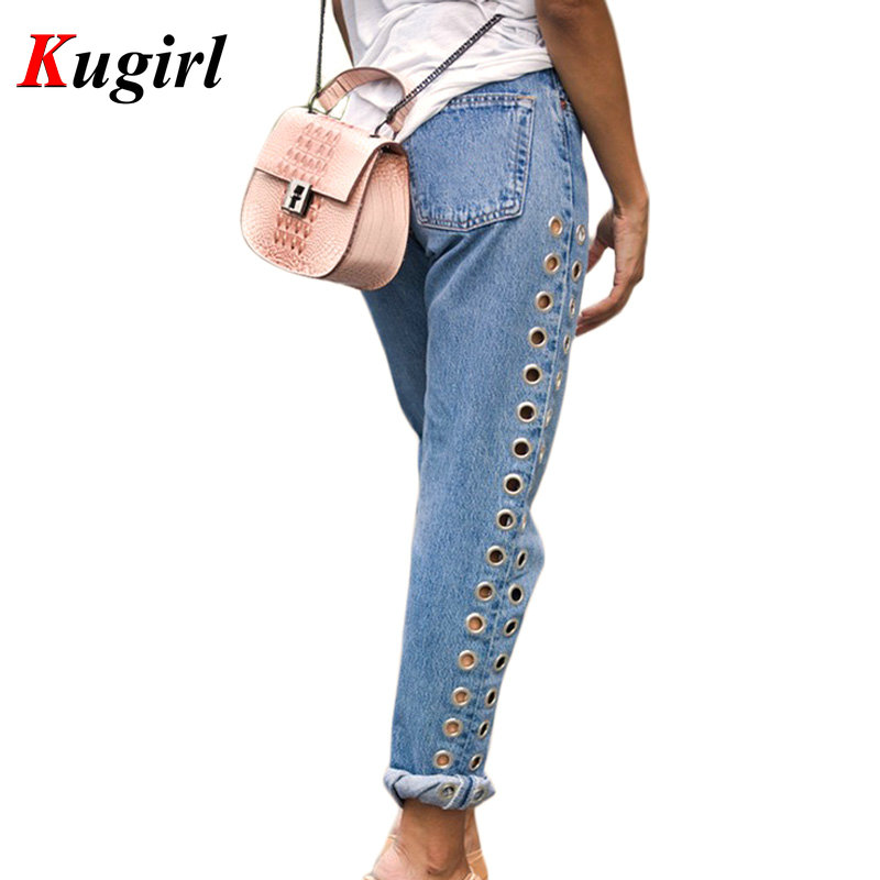 New 2017 Fashion Rivets Ripped High Waist Jeans Straight Eyelet Detail Boyfriend Denim Jeans Women Pants