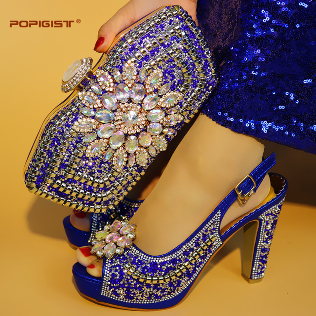 Women Shoes Royal Blue With Shining Crystal good quality Italian Shoes Matching With bag Italian Shoes With Matching Bags Set