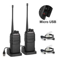 2 pcs Radioddity GA 2S UHF Two Way Radio 16CH Rechargeable VOX Long Range Walkie Talkie Micro USB Charing with Charger+Earpiece