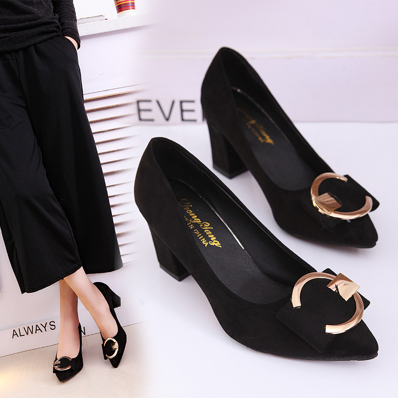 High-Heels Women's Shoes Comfortable Pointed Thick Korean-Version Fashion The of Shallow