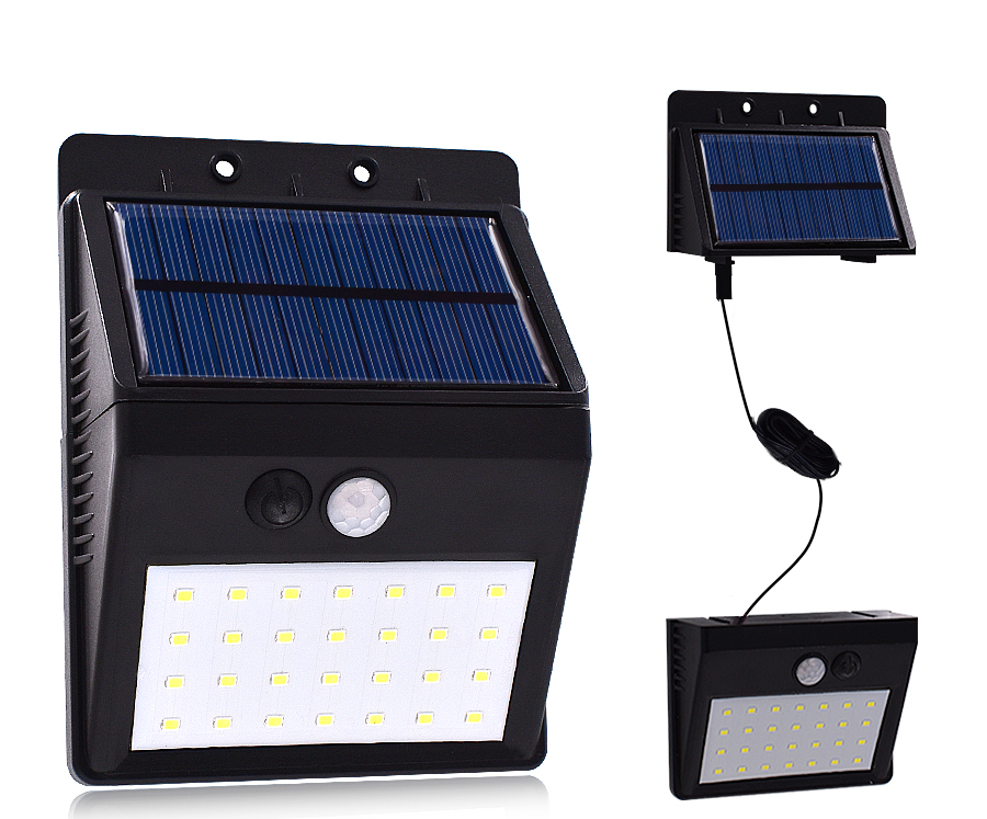 Luz LED exterior con panel solar y cable extensor