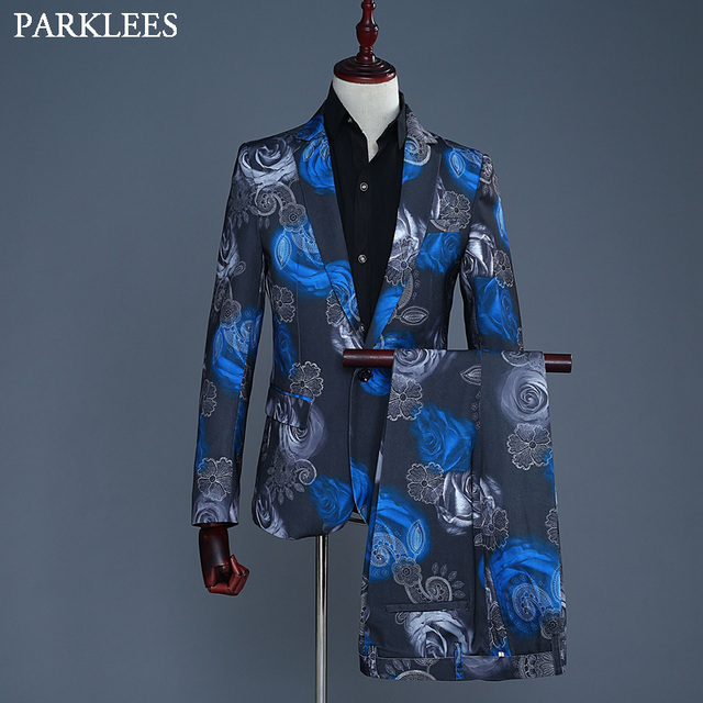 b77f3c3c22 Blue Rose Floral Print Suit (Jacket+Pants) Fancy Notched Lapel Mens Dress  Suits Wedding Grooms Singer Costumes Wear Coats Homre