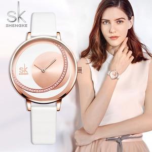 Image 2 - Shengke 시계 여성 럭셔리 크리스탈 시계 Reloj Mujer 가죽 밴드 다이아몬드 숙녀 쿼츠 시계 여성 시계 Montre Femme