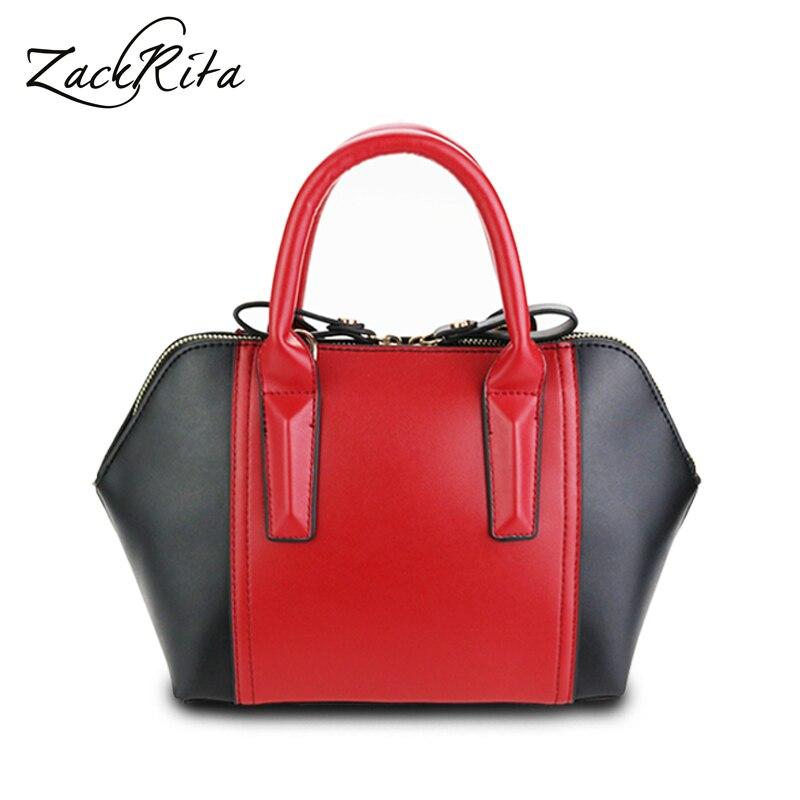 ZackRita Woman's New Elegant Patchwork Bowknot Zipper Shell PU Leather Female Handbags Crossbody Shoulder Bag Small Handbag B5