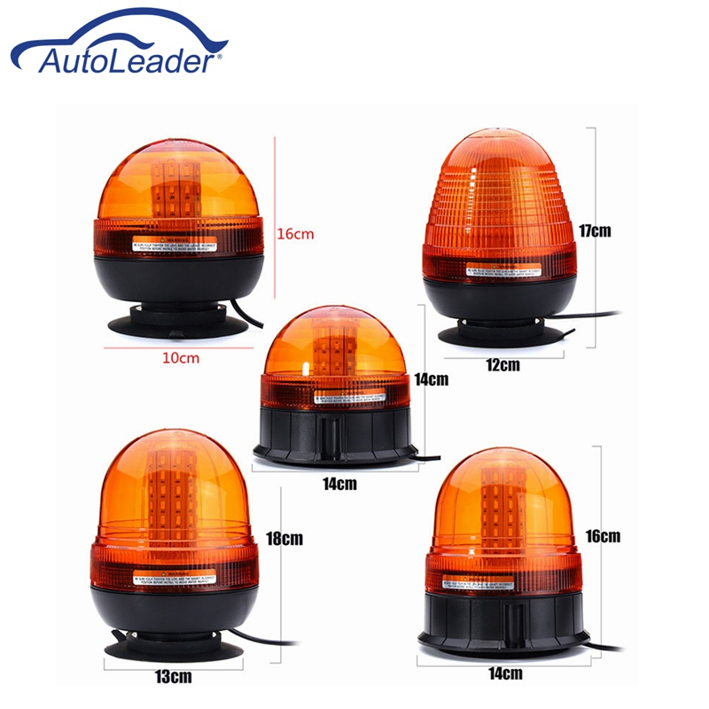 Autoleader LED Car Signal Lamp Flashing Strobe Beacon Emergency Warning Light Auto Amber Lamp Yellow Lighting 12-24V Mul Size 8 led flashing yellow light caution warning lamp with magnetic mount holder