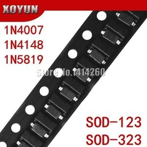 100pcs/lot SMD diode 0805 SOD-123 1N5819 1N4007 1N4148 SOD123 SOD-323 1206 1N4148WS 1N5819WS B5819WS SOD323