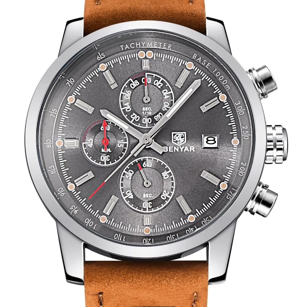 BENYAR relogio masculino Watch Men Military Quartz Watch Chronograph Mens Watches Top Brand Luxury Leather Sports