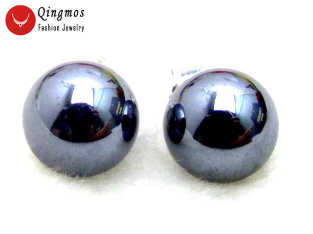1843aed0c Qingmos 10MM Round Black Natural HEMATITE Stud Earrings for Women with  Stering Silver 925 Stud Trendy