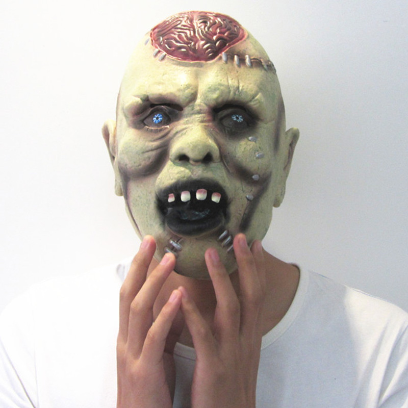 aliexpresscom buy horror grimace scar men mask for adult green face blood hole blue eye latex masks halloween party gifts mx002 from reliable men - Face In Hole Halloween