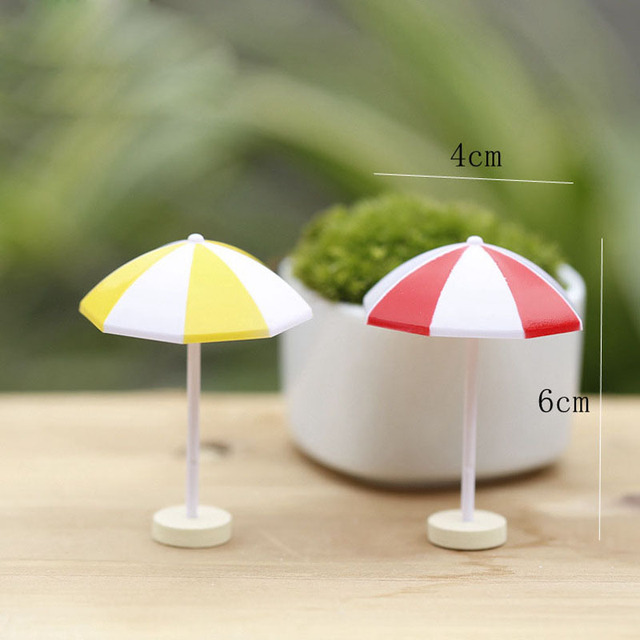Sun Umbrella Artificial Parasol Miniature Fairy Garden Home Houses