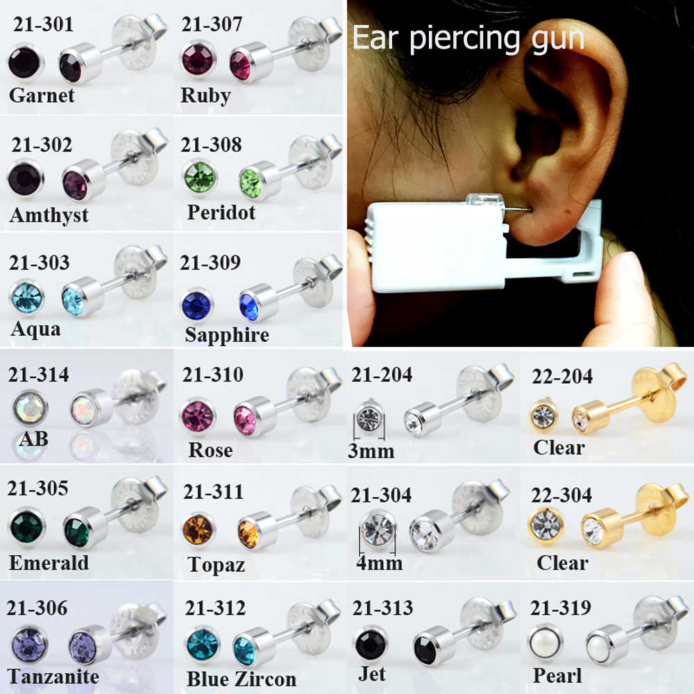 Showlove-Disposable Sterile Ear Stud Earring with Crystal Gem Piercing Unit Piercing Gun Tool Kit Build In Steel Stud Earring