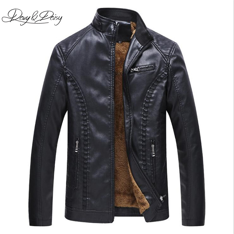 DAVYDAISY 2019 New Arrival Men Leather Jacket Winter Fleece Motorcycle Solid Stand Collar Thick PU Leather Jacket 6XL DCT 214-in Jackets from Men's Clothing on AliExpress - 11.11_Double 11_Singles' Day 1