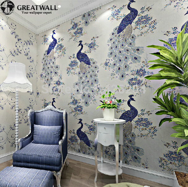 Great wall southeast asian chinese style non-woven peacock wallpaper  mural,personality wall papers