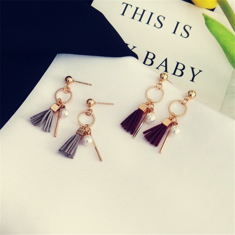 kshmir Earrings tassel temperament Retro fashion small tassel circular earrings ears pop female ring earrings