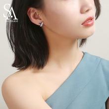 925 New Silver Stud Earrings Woman AAA Zirconia Magic X Romantic Jewelry For Wedding Elegant Color
