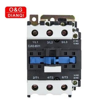 65A AC Contactor CJX2-6511 6501 LC1 3 Fase 3-polo NO bobina, tensión 380 V 220 V, 24 V 50Hz en carril Din 3 P + 1NO 1NC Contactor