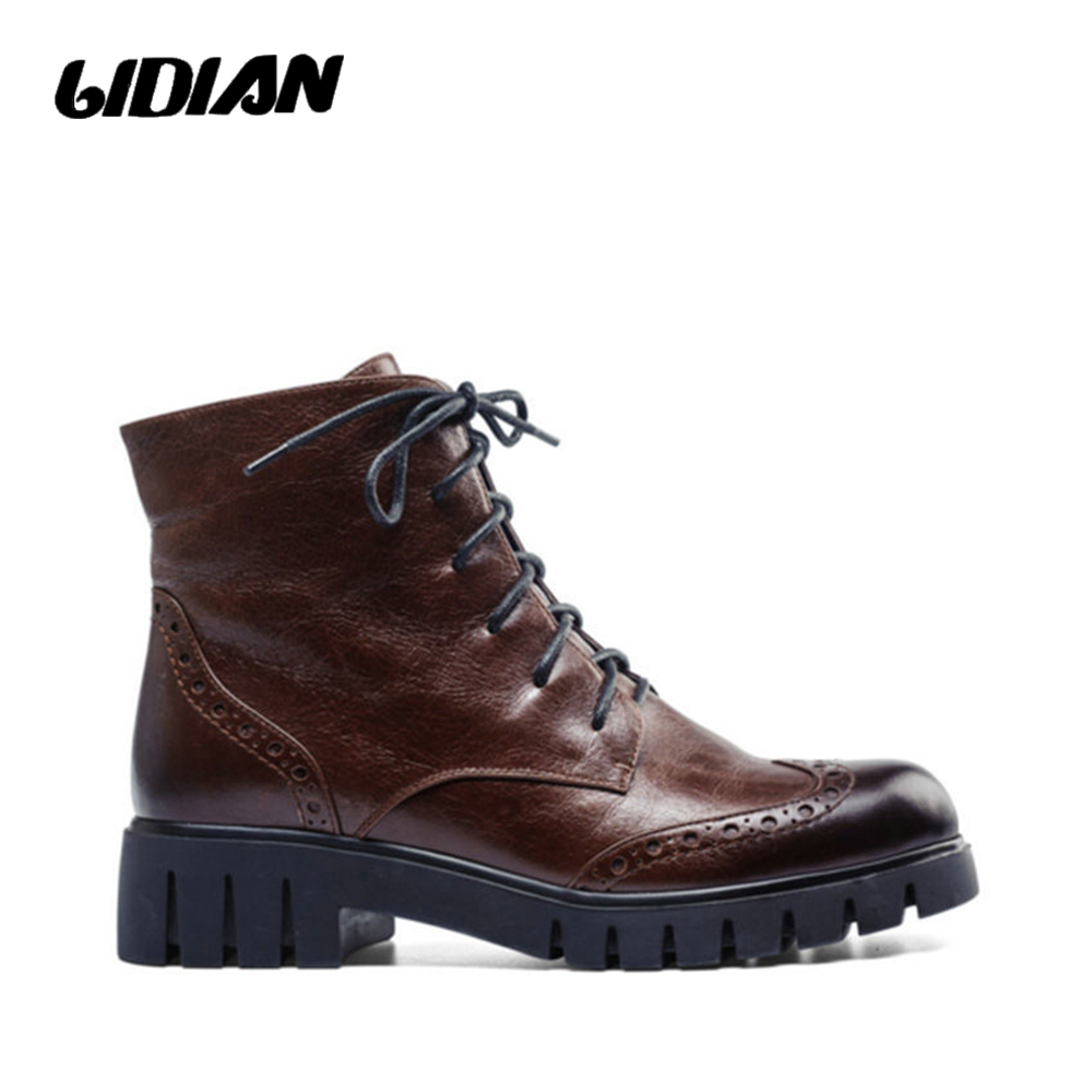 LIDIAN Woman Boots Wool inside Brown Genuine Leather Motorcycle Winter Women's Ankle Martin boots Lace-up Mid-heeled Shoes B13 top 2017 women snow boots wool fur inside lace up nubuck genuine leather fashion brand black brown martin motorcycle shoes