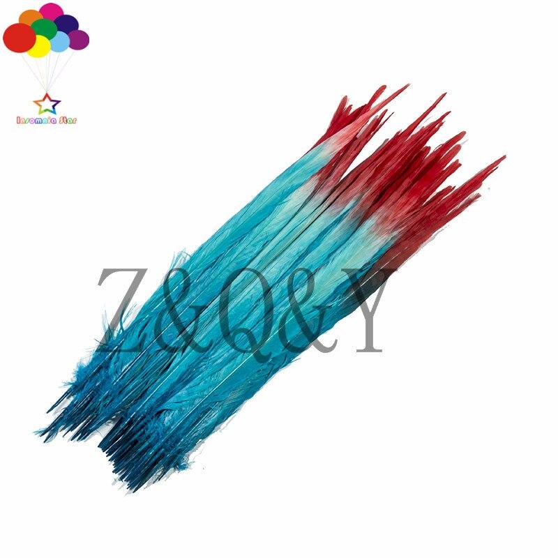 50 pièces haut 40-45 CM (16-18 pouces) couleur de queue de faisan (rouge plus bleu lac) accessoires de vêtements, bandeau de théâtre