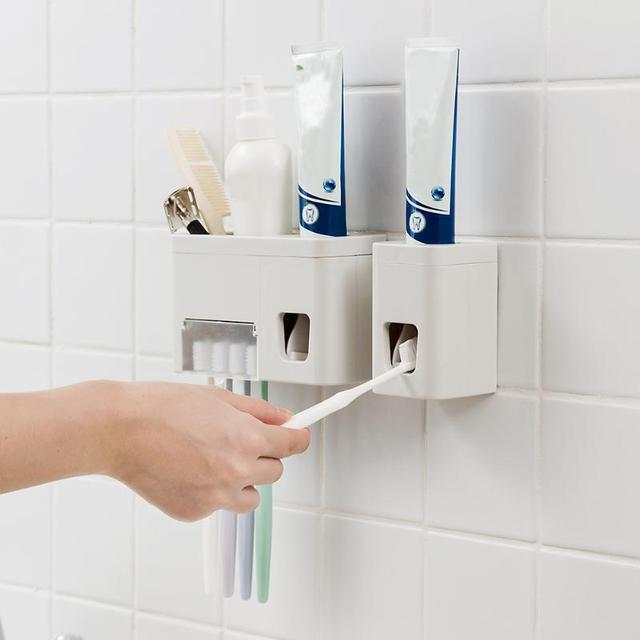 Wall Mounted Toothbrush Holder Automatic Toothpaste Dispenser Family Rack Squeezer Bathroom Accessories Sets